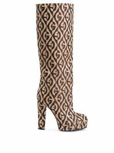 Gucci G rhombus platform boots - Brown