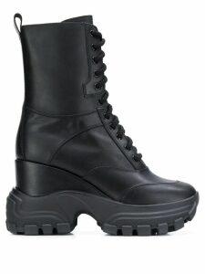 Miu Miu chunky military boots - Black