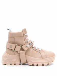 Miu Miu embellished strap boots - NEUTRALS