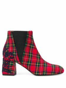Pollini tartan ankle boots - Red