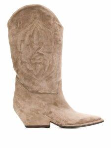 Del Carlo undershot heel western calf boots - Grey