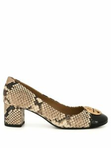 Tory Burch Chelsea 50mm snake-effect pumps - Brown
