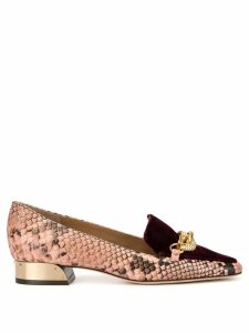 Tory Burch Jessa 25mm snake-effect loafers - PINK