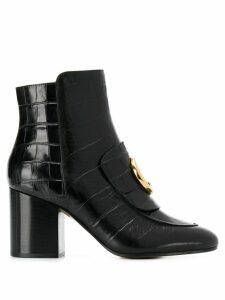 Chloé crocodile effect 80mm ankle boots - Black