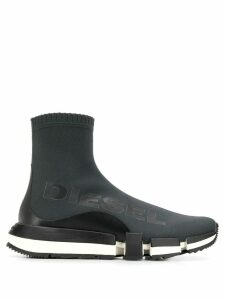 Diesel logo print sock trainers - Grey