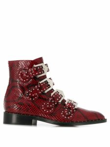 Givenchy snakeskin effect buckled ankle boots - Red