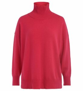 Roberto Collina High Collar Sweater In Strawberry-colored Wool