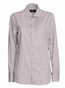 Dsquared 2 Cotton Stripe Dean Shirt In Bordeaux