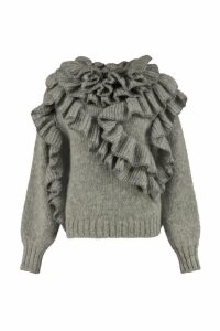 Alberta Ferretti Mixed Wool Knit With Frills
