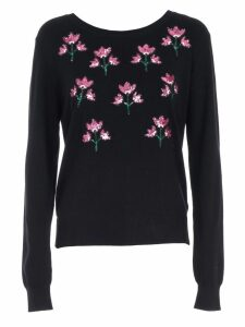 Be Blumarine Sweater L7s W/flowers Paillettes