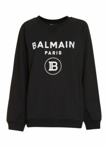 Balmain Black Cotton Sweatshirt With Logo