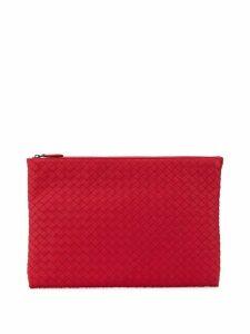 Bottega Veneta intrecciato weave clutch - Red
