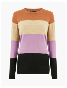 M&S Collection Cashmilon Colour Block Striped Jumper