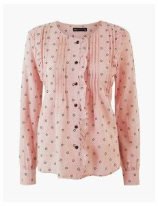 M&S Collection Cotton Rich Pintuck Blouse