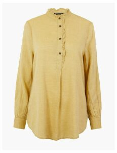M&S Collection Cotton Rich Longline Blouse