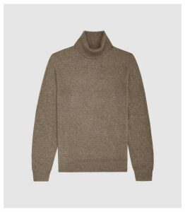 Reiss Monty - Wool Cashmere Blend Rollneck Jumper in Taupe, Mens, Size XXL