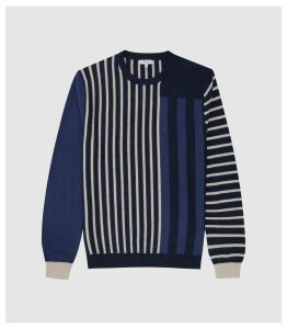 Reiss Andy - Striped Crew Neck Jumper in Blue, Mens, Size XXL