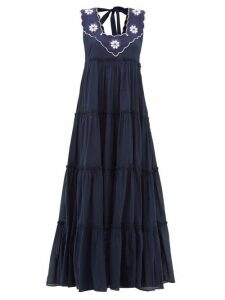 Innika Choo - Che Pas Floral-embroidered Tiered Cotton Dress - Womens - Navy