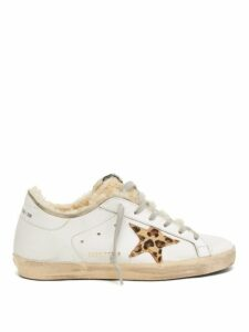 Golden Goose - Superstar Shearling Trimmed Leather Trainers - Womens - White Multi