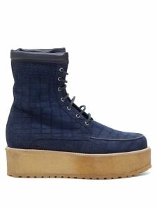 Gabriela Hearst - David Crocodile-effect Suede Flatform Boots - Womens - Navy