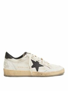 Golden Goose - Ball Star Glittered Leather Trainers - Womens - White Black