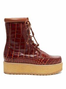 Gabriela Hearst - David Crocodile Effect Leather Flatform Boots - Womens - Tan