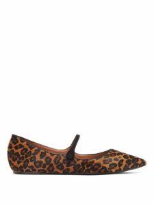 Tabitha Simmons - Hermione Leopard Print Calf Hair Mary Jane Flats - Womens - Leopard