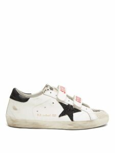 Golden Goose - Old School Velcro Logo Strap Leather Trainers - Womens - White Black