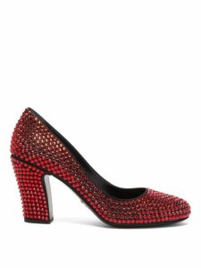 Prada - Crystal Embellished Leather Pumps - Womens - Red