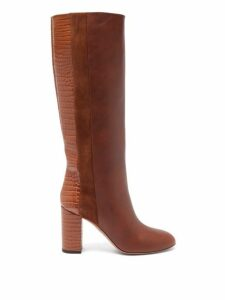 Aquazzura - Eaton 85 Croc Embossed Knee High Leather Boots - Womens - Tan