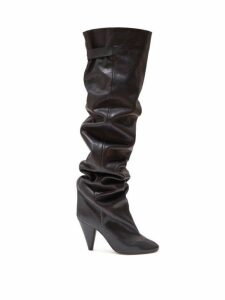 Isabel Marant - Likita Slouched Knee-high Leather Boots - Womens - Black