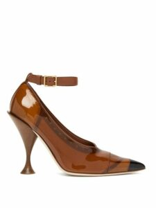 Burberry - Evan Pvc Coated Leather Pumps - Womens - Brown
