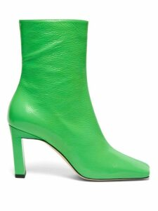 Wandler - Isa Square-toe Leather Ankle Boots - Womens - Green