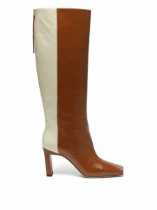Wandler - Isa Tri Colour Square Toe Leather Boots - Womens - Brown Multi
