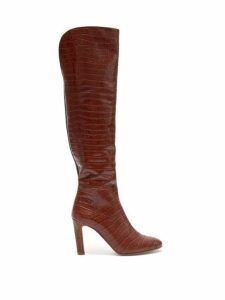 Gabriela Hearst - Linda Crocodile Effect Leather Knee High Boots - Womens - Tan