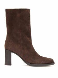 Legres - Stacked Heel Suede Boots - Womens - Dark Brown
