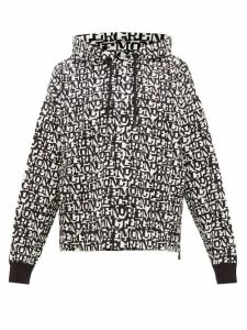 Moncler Grenoble - Logo Jacquard Hooded Sweatshirt - Womens - Black White