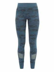Adidas By Stella Mccartney - Performance Essentials Camouflage-print Leggings - Womens - Blue