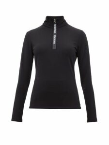 Fendi - Roma Half Zip Stretch Jersey Top - Womens - Black