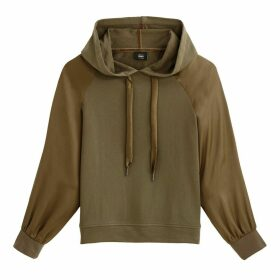 Slip-On Hoodie with Satin Sleeves
