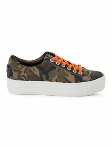 Hippie Neon Camo Leather Low-Top Sneakers