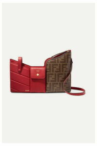 Fendi - Embossed Leather And Printed Coated-canvas Shoulder Bag - Red