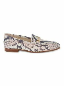 Loraine Snakeskin-Print Leather Loafers