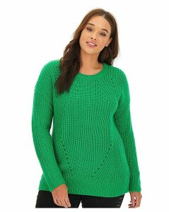 Bright Green Wavy Pointelle Jumper