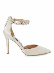 Evie Crystal Embellished Satin d'Orsay Pumps
