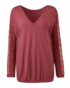 Pink Lace Long Sleeve Top