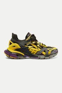 Balenciaga - Track 2 Logo-detailed Metallic Mesh And Rubber Sneakers - Yellow