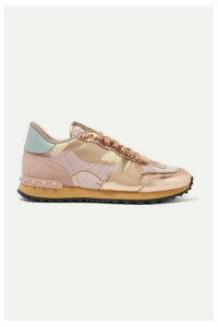 Valentino - Valentino Garavani Rockrunner Metallic Leather And Suede-trimmed Camouflage-print Canvas Sneakers - Pastel pink