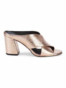 Lyra Crisscross Strap Leather Mule Sandals