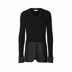 Burberry Tailored Panel Rib Knit Silk Blend Sweater